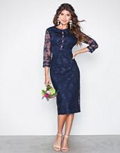 Little Mistress Navy Embroidered Midi Dress