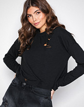 Missguided Black Distressed Rib Long Sleeve Sweat