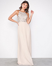 NLY Eve Champagne Tight Neckline Beads Gown