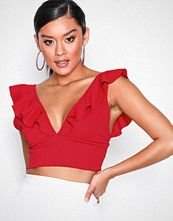 NLY One Rød Crop Frill Top