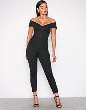 NLY One Svart Folded Off Shoulder Jumpsuit