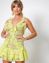 For Love & Lemons Lemon Tati Lace Ruffle Dress