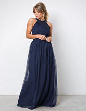Little Mistress Navy Floral Applique Maxi Dress