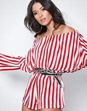 Missguided White Stripe Bardot Layer Playsuit