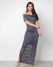 Vila Mørk lilla Vizally Off Shoulder Maxi Dress/Dc