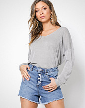 New Look Blue Button Front Distressed Denim Shorts