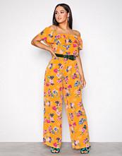 Glamorous Orange Printed Jumpsuit