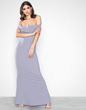 Missguided Grey Crepe Bardot V Plunge Maxi Dress