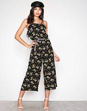 New Look Black Print Floral Lattice Side Culotte Jumpsuit