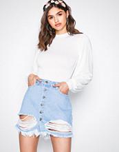 NLY Trend Blue Wash Ripped Mini Denim Skirt