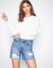 NLY Trend Light Blue Denim Cheeky Fit Midi Denim Shorts
