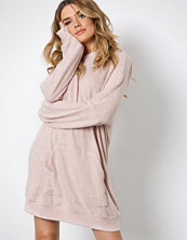 Missguided Peach Front Hooded Sweater Dress