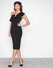 Missguided Black One Shoulder Frill Midi Dress