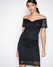 New Look Black Scalloped Lace Sweetheart Midi Dress