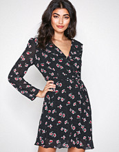 Glamorous Black Flower Floral Dot Wrap Dress
