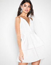 Missguided White Crochet Double Layer Plunge Dress