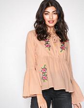 Glamorous Blush Floral Long Sleeve Blouse