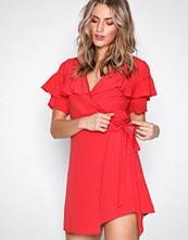 Glamorous Red Wrap Flounce Dress