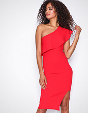 Missguided Red One Shoulder Frill Detail Dress