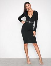 Missguided Black Ponte Long Sleeve Midi Dress