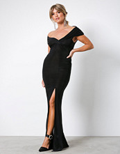 Missguided Black Slinky Bardot Warp Front Split Dress