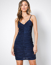 Missguided Navy Slinky Ruched Front Mini Dress