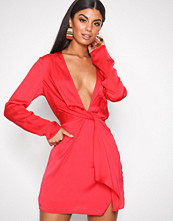 Missguided Red Silky Plunge Shift Dress