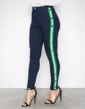 Missguided Indigo Stripe Side Skinny Jeans