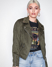 New Look Khaki Suedette Biker Jacket