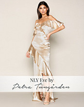 NLY Eve Gold Champagne Satin Frill Gown