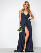 NLY Eve Navy Thin Strap Flowy Gown