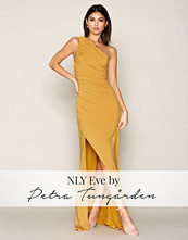 NLY Eve Gold Draped One Shoulder Gown