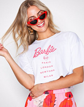 Missguided White Barbie City Printed Crop T-shirt