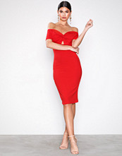 New Look Red Twist Front Sweetheart Bodycon Midi Dress