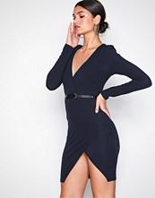 Ax Paris Navy Long Sleeve Dress