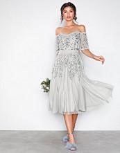 Maya Grey Embellished Bardot Midi Dress