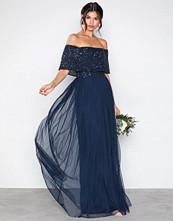 Maya Navy Bardot Delicate Sequin Maxi Dress