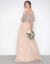 Maya Bardot Delicate Sequin Maxi Dress Taupe