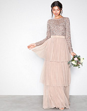 Maya Taupe Delicate Sequin Tiered Maxi Dress