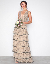 Maya Beige Tiered All Over Embellished Maxi Dress