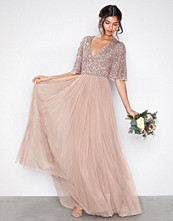 Maya Taupe V-Neck Delicate Sequin Maxi Dress