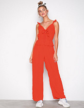 River Island Bow Front Jumpsuit Bright Red