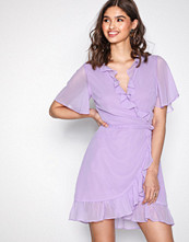 Glamorous Lilac Short Sleeve Wrap Dress