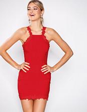 Rare London Red Crochet Trim Halter Dress