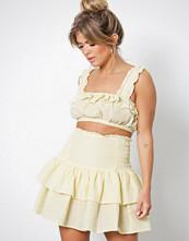 NLY Trend Gul/Randig Frill Smock Skirt
