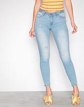 Jacqueline de Yong Lys blå Jdymagic Skinny Rw L Blue Destroy D