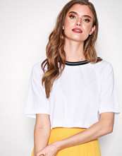 Missguided White Rib Neck Trim Crop Top