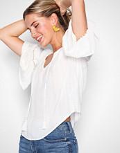 New Look Winter White Metallic Tassel Front Bardot Top