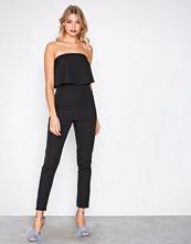 Missguided Black Bandeau Double Layer Jumpsuit