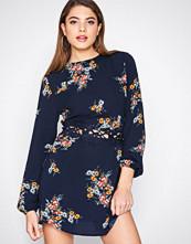 Ax Paris Navy Long Sleeve Floral Dress